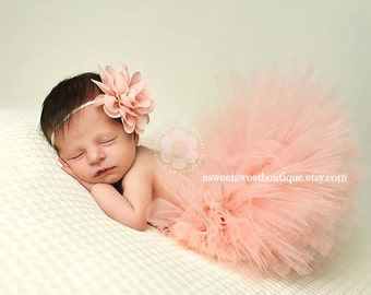 Newborn Peach Tutu Peach Tutu Sweet Peach Sugar Tutu Newborn Tutu Custom Made With Matching Flower Headband Stunning Newborn Photo Prop