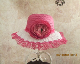 Fuchsia Straw Hat - Beautiful Peony Hat - Girls Easter Hat - OOAK hat with lace