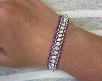 Purple and Silver Swarovski Crystal Bracelet