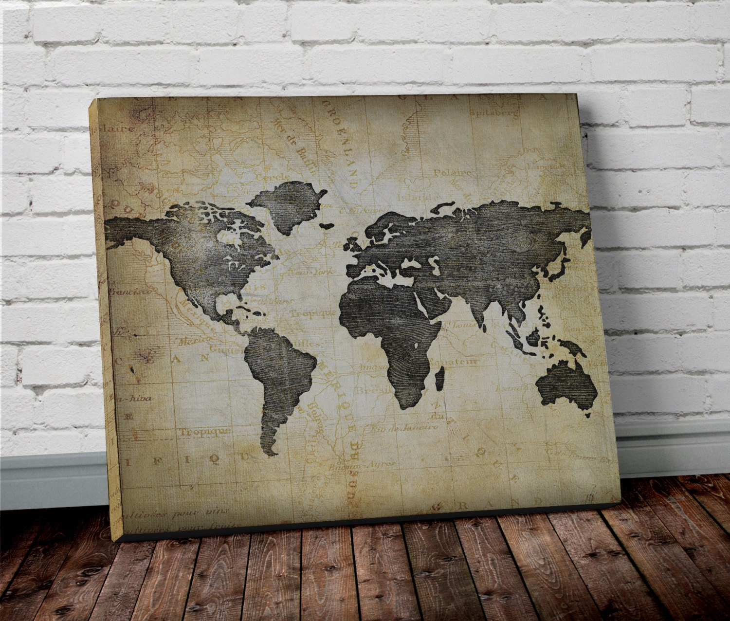 Brown world map wall art canvas world map print in brown and zoom gumiabroncs Gallery