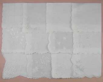 Vintage Hanky Lot,Wedding Hanky Lot,One Dozen White Wedding Vintage Hankies Handkerchiefs (Lot #83)