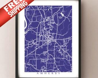 Amherst Map Print - Massachusetts Art Poster