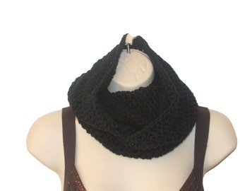 Infinity Scarf, Slouchy Scarf, Black Cowl,  Winter Cowl, Black Scarf, Mens Cowl, Hand Crochet Scarf, Mens Winter Scarf, Womens Cowl