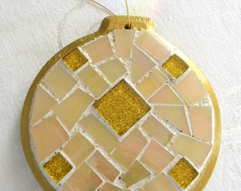 SALE - Gold MOSAIC Christmas Ornament - Iridescent Stained Glass