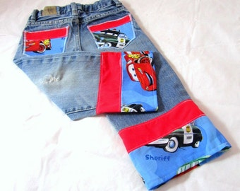Cars Birthday Outfit: Boy Birthday Outfit, Jeans, Shirt, Suspenders, blue, red, Lightning, adjustable, removable, upcycled