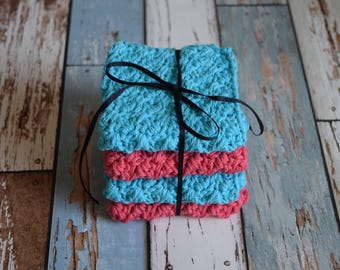 Set of 4 medium, cotton dish cloths/wash cloths***coral & turquoise