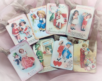 8 Victorian Style Valentine's Day Decor Gift Tags/Card AND Satin Ribbons Vintage Retro Gift Bag Art Tag Shabby Chic Journal Scrapbook Decor