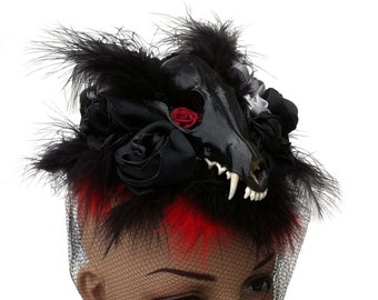 Gothic Hat - Victorian Mourning Hat - Women - Skull - Feathers  - Red and Black - Handmade