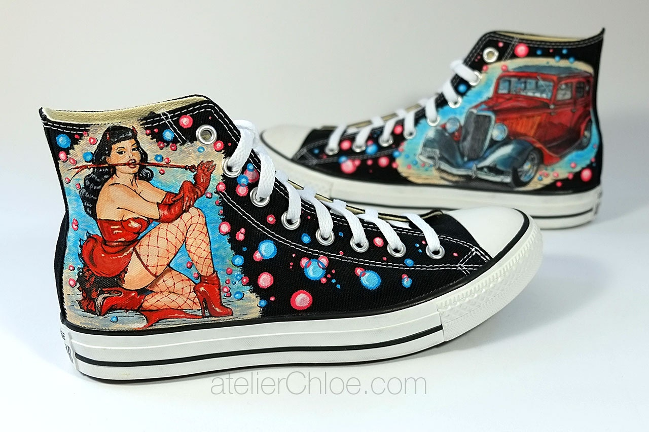Bettie page and hot rod converse hand painted shoes custom zoom geenschuldenfo Images