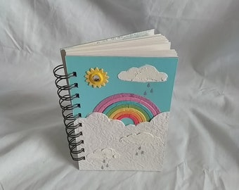 Small Mixed Media Rainbow and Showers Notebook / Book/ Journal