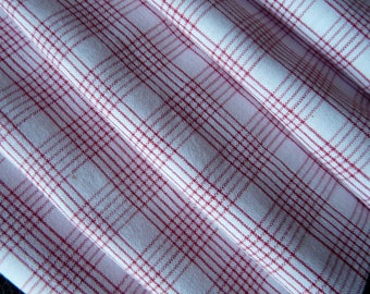 Antique linen cotton with Red and White check, gingham fabric organic from the 1900 era
