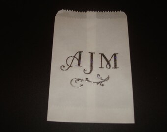 Monogram Glassine Wedding, Bridal Shower, Graduation or  Anniversary Favor Bags Sacs Cookie Sleevc