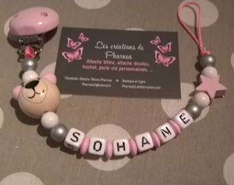Pacifier lollipop personalised with name Teddy bear 3d pink star earrings white silver