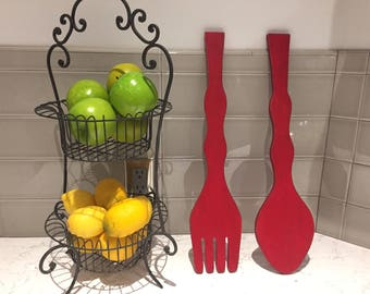Wood Fork and Spoon, modern black, Kitchen decor, up cycled, distressed, wall decor, yard art, shabby cottage chic, CUTE!