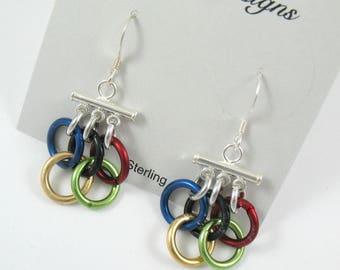 Olympic rings earrings - chain mail - chainmaille jewelry- free shipping