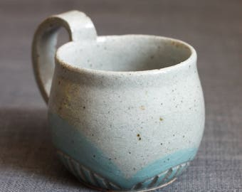Blue Cloud Carved Mug
