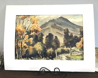 San Gregorio Canyon #2, Original Watercolor by Galen Russel Wolf (Unframed)