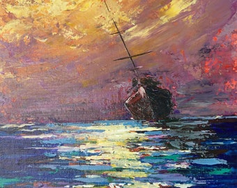 """Sailing - Rustic Boat in Sunset 11"""" X 14""""Original Impresionism Oil Painting artwork オリジナル油彩画 by Yoko Collin"""