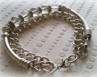 Smokey Grey & Silver Chunky Beaded Bracelet - Gift for her -|- Valentines -|- Bridesmaid gift