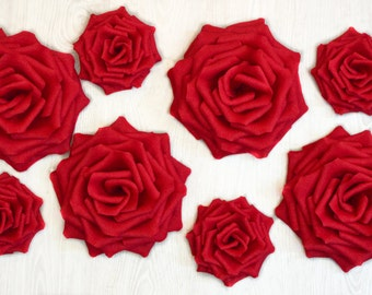 8 Giant Paper Flowers/Giant Paper Roses/Wedding Decoration/Arch Flowers/ Table Flower Decoration/ Red Roses