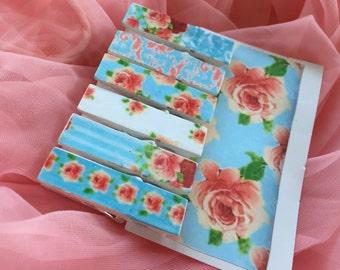 6 Shabby Chic Floral Roses Clothespins Pegs .. Magnets Optional .. Wedding Bridal Party Shower Favor Gifts .. Gift Bag Tag Clip .. Gift Idea