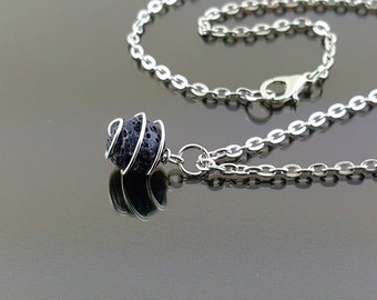 Black Lava Rock Necklace Lava Stone Necklace Aromatherapy Necklace Diffuser Necklace Essential Oil Necklace Lava Bead Necklace
