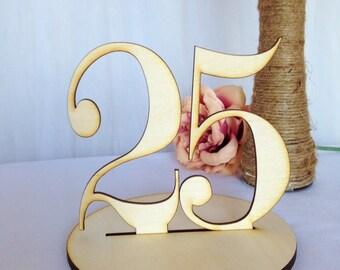 1-29 Laser Cut Elegant Wood Table Numbers