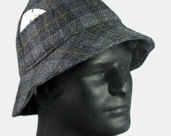 Mens Winter Hat Grey Black Wool Plaid 6 Panel Short Brim Bucket Hat | Sherlock Holmes Walking Hunting Hat | Tweed Bucket Bowler Hat