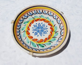 French antique faience wall plate , hand painted faience plate,  hand painted floral decor