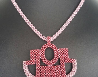 Aztec necklace, pink beaded necklace, beaded necklace, pink necklace, statement necklace, statement jewellery, contemporary necklace