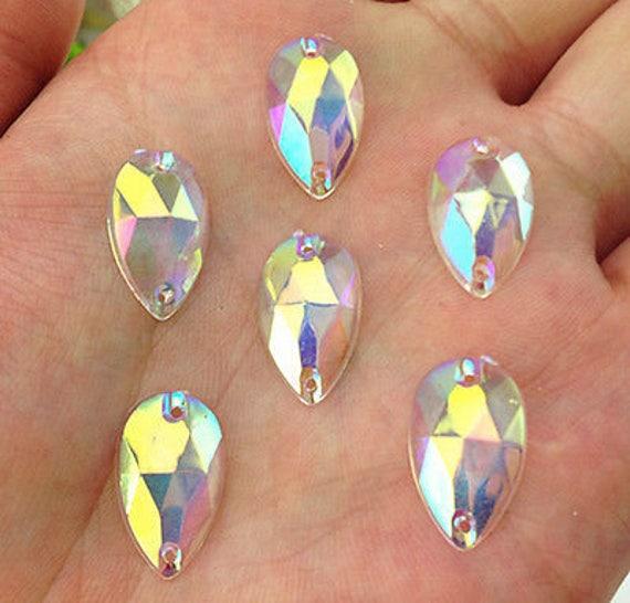 50pcs Trans Clear AB 18mm*11mm Flat Back Tear Drop Sew On Acrylic Rhinestones Embellishment Gems C13