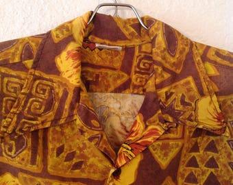 Barefoot n Paradise loop collar Tiki hawaiian shirt  size medium