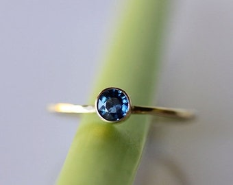 Spring Sales - Blue Sapphire 14K Gold Ring, Gemstone Ring, Stacking Ring, Recycled Gold Ring, Sapphire Gold Ring - Custom Made For You