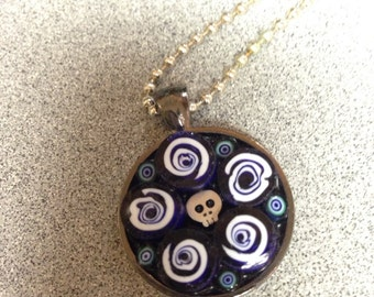 Stained Glass Mosaic Skull  Necklace
