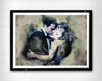 Fifty Shades Darker Instant Download Digital Print Poster Anastasia Steele Christian Grey Gift for Woman Girlfriend Best friend for her
