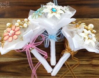 Wedding Brooch Bouquet, Broach Bouquet, Brooch Bouquet, Wedding Flower, Flowergirl Bouquet, Bridesmaid Bouquet, Button Bouquet, DEPOSIT ONLY