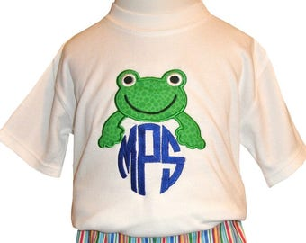 Monogrammed Frog Personalized Shirt, John John or Shorts Outfit