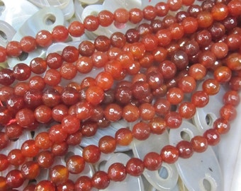 Brownish Red Agate 10mm Faceted Round Beads- 38pcs/Strand