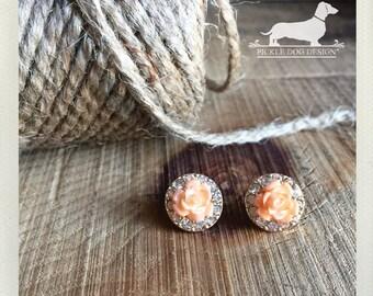 DOLLAR DEAL! Peach Rose. Post Earrings -- (Flower, Gold, Small, Romantic, Feminine, Shabby Chic, Vintage Style, Bridesmaid Gift Under 5)