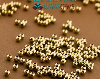100pc 2mm Gold Filled Beads, Gold Filled Beads, 2mm Beads, Seamless Balls, Polished Gold Seed Beads, Made in Italy 14/20 14kt Goldfilled