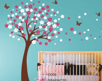 Lovely Blooming Cherry Tree Wall Decals Nursery Wall Decal Children Wall Decals  Girl Baby Kids Bedroom Wall Decals Butterfly Flower