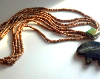 Gale Self Pendant and Heishi Necklace