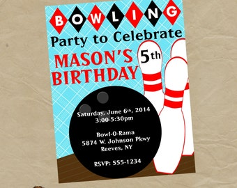 Boys  Bowling Birthday Party Invitation - Digital Personalized File to Print