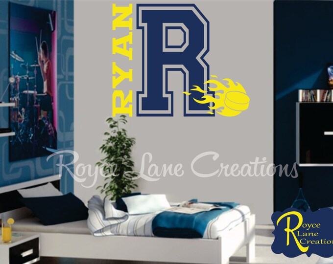 Ice Hockey Varsity Letter Decal with Name and Hockey Puck Hockey Decal for Teen Boys Bedroom Sports Wall Decal Hockey Wall Decal