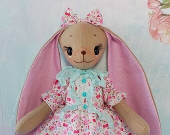 Rag doll Bunny doll plush Stuffed bunny toy Fabric rabbit toy doll Poseable art cloth doll handmade Cute stuffed animal Rabbit lover gift