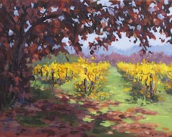 Colorful Fall Vineyard painting