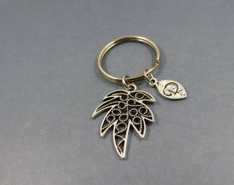 palm tree keychain - personalised palm tree  keyring - palm tree charm- porte clé arbre palmier - initial letter