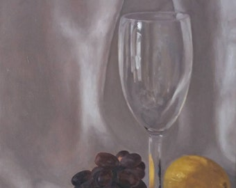 Still life oil painting with wine glass and grapes