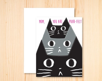 Cat Card, Cat Mom Card, I love you Mom, Thanks Mom, Happy Mother's Day, Mother's Day Card, Puurfect Mom, Stationery, Black Cat Card