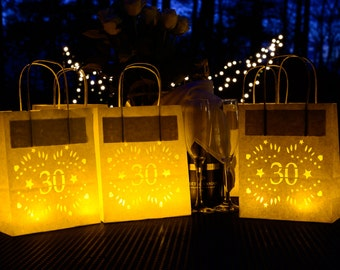 30th Birthday Lantern Bags, luminary perfect alternative card or 30th party decoration